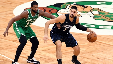 Orlando Magic center Nikola Vucevic, Boston Celtics center Tristan Thompson