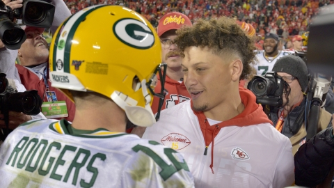 Green Bay Packers quarterback Aaron Rodgers, Kansas City Chiefs' Patrick Mahomes