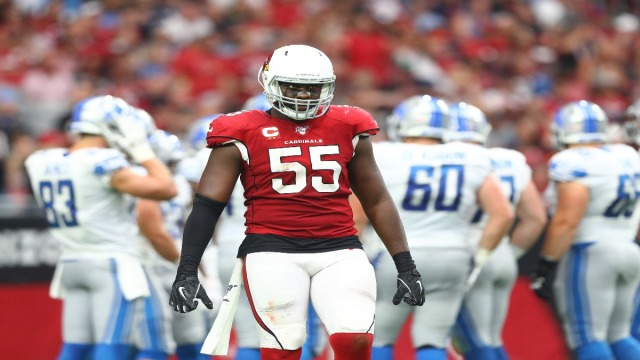 Cardinals linebacker Chandler Jones (55) against the Detroit Lions at State Farm Stadium.