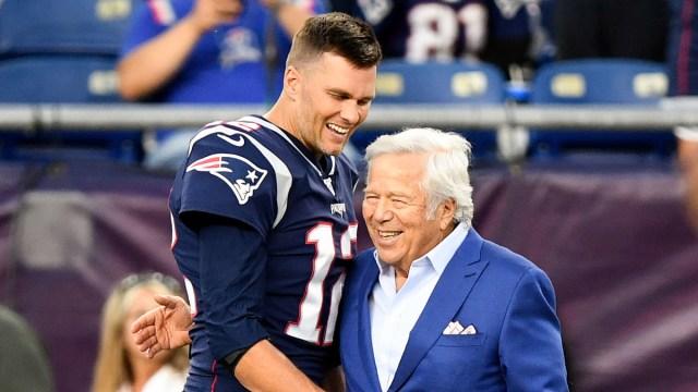 Tampa Bay Buccaneers quarterback Tom Brady, New England Patriots owner Robert Kraft