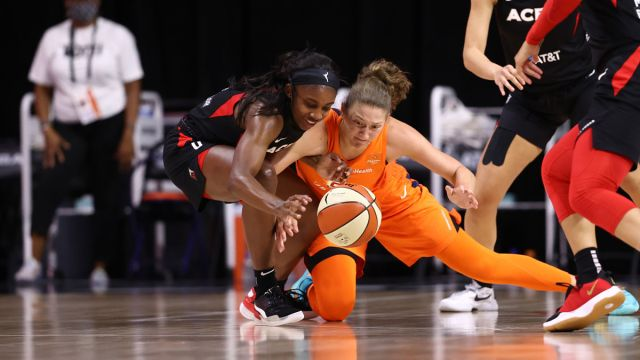 Former Connecticut Sun forward Theresa Plaisance and Las Vegas Aces guard Jackie Young