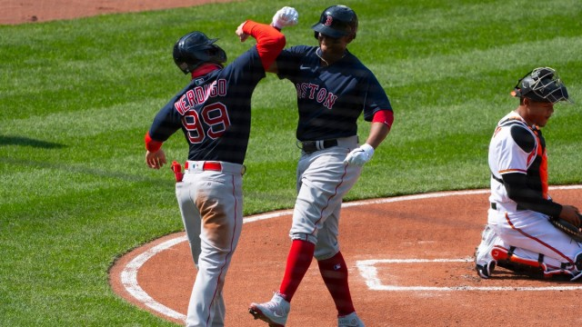 Boston Red Sox outfielder Alex Verdugo and third baseman Rafael Devers