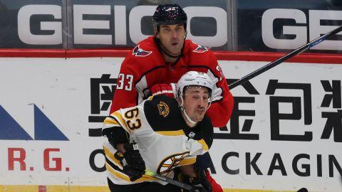 Washington Capitals defenseman Zdeno Chara, Boston Bruins forward Brad Marchand
