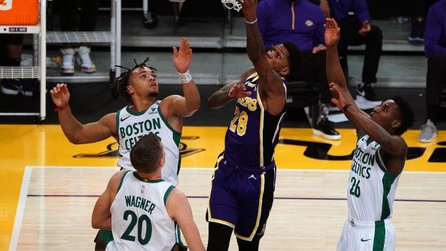 Carsen Edwards, Moritz Wagner, Aaron Nesmith of the Boston Celtics