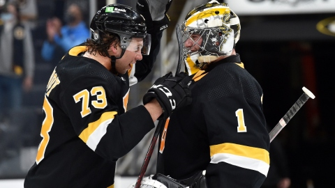 Boston Bruins defenseman Charlie McAvoy (73) and goaltender Jeremy Swayman (1)
