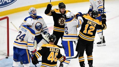 Boston Bruins Forwards David Krejci, Craig Smith And Taylor Hall