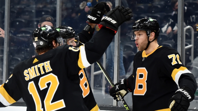 Boston Bruins Forwards Craig Smith, Taylor Hall And David Krejci