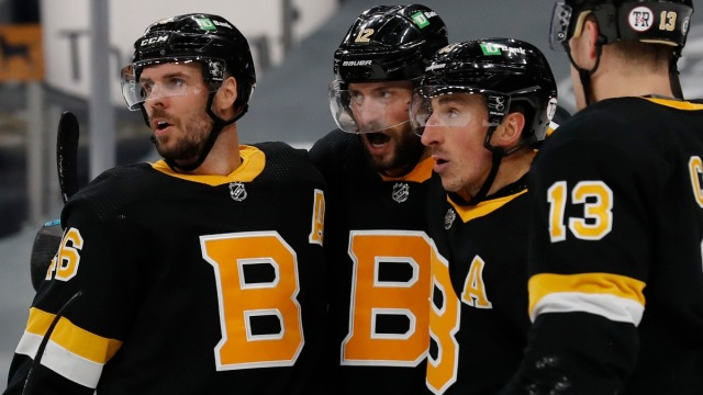 Boston Bruins Forward David Krejci, Craig Smith & Brad Marchand