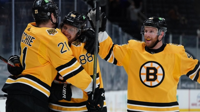 Boston Bruins right wing David Pastrnak (88), left wing Nick Ritchie (21)
