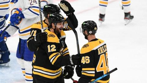 Boston Bruins Forwards Taylor Hall, Craig Smith And David Krejci