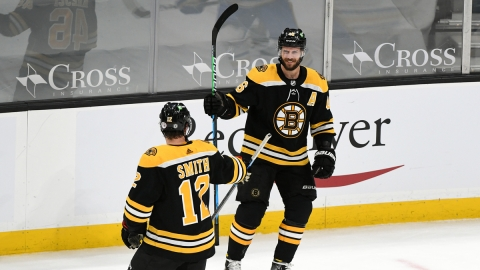 Boston Bruins Forwards Craig Smith And David Krejci