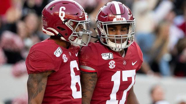 Alabama NFL Draft prospects and potential Patriots wide receivers DeVonta Smith and Jaylen Waddle