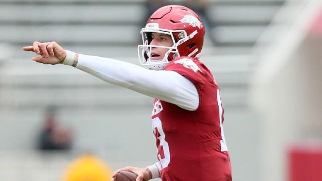 Arkansas NFL Draft prospect and potential Patriots quarterback Feleipe Franks