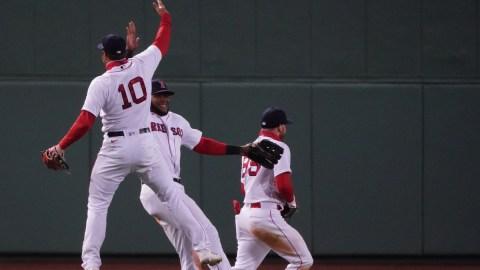 Boston Red Sox outfielders Hunter Renfroe, Franchy Cordero, Alex Verdugo
