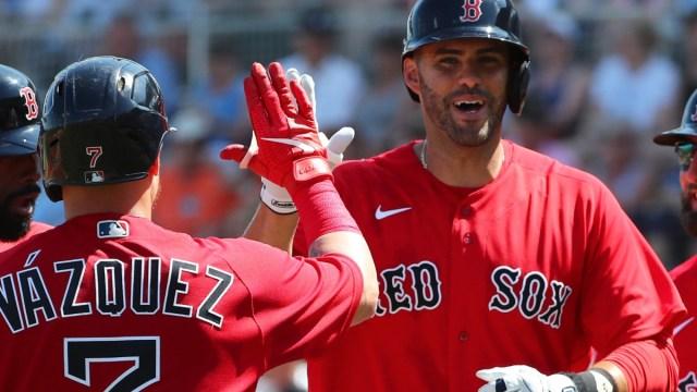 Boston Red Sox catcher Christian Vazquez and designated hitter J.D. Martinez