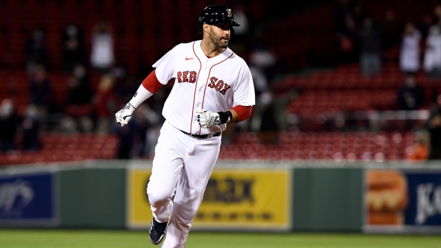 Boston Red Sox designated hitter J.D. Martinez, Tampa Bay Rays relief pitcher Ryan Thompson