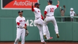Boston Red Sox Outfielders J.D. Martinez, Franchy Corder And Hunter Renfroe