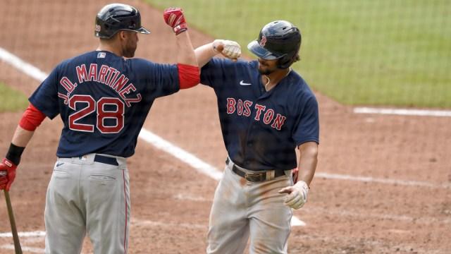 Boston Red Sox Designated Hitter J.D. Martinez And Shortstop Xander Bogaerts
