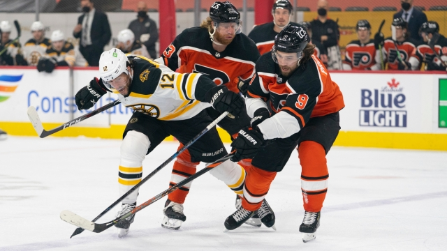 Philadelphia Flyers winger Jakub Voracek, defenseman Ivan Provorov, Boston Bruins winger Craig Smith