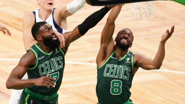 Boston Celtics guards Jaylen Brown, Kemba Walker