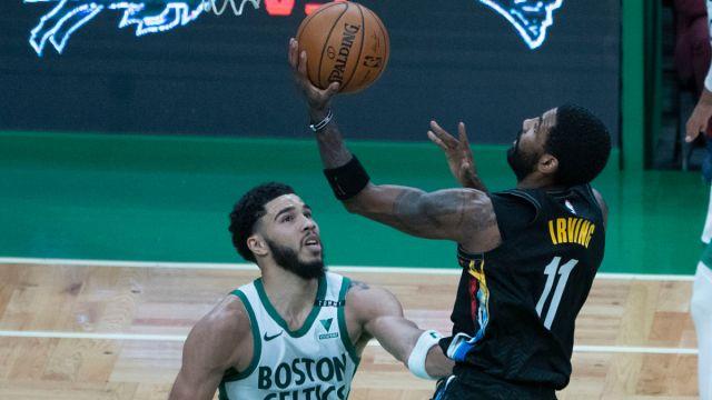 Boston Celtics forward Jayson Tatum and Brooklyn Nets point guard Kyrie Irving