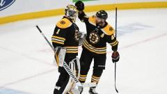 Boston Bruins Goalie Jeremy Swayman And Center David Krejci