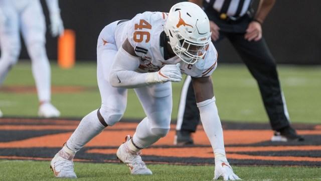 Texas NFL Draft prospect and potential Patriots edge defender Joseph Ossai