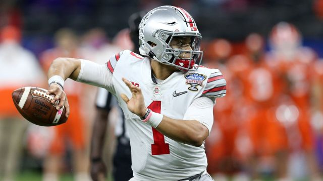 Ohio State NFL Draft prospect and potential Patriots quarterback quarterback Justin Fields