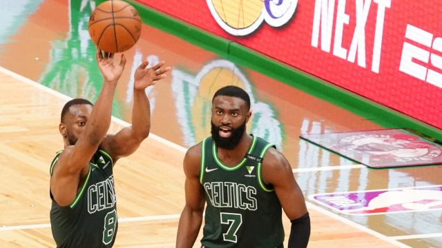 Boston Celtics guards Kemba Walker and Jaylen Brown