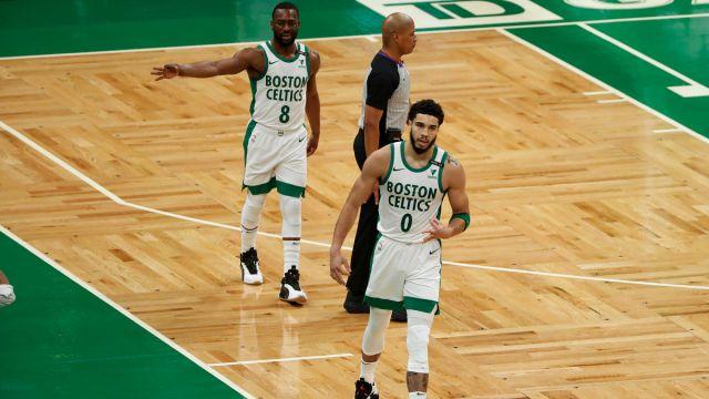 Boston Celtics guard Kemba Walker and forward Jayson Tatum