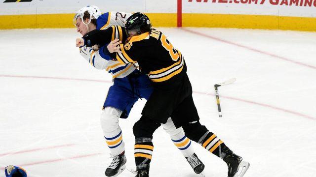 Buffalo Sabres winger Tage Thompson, Boston Bruins Defenseman Kevan Miller