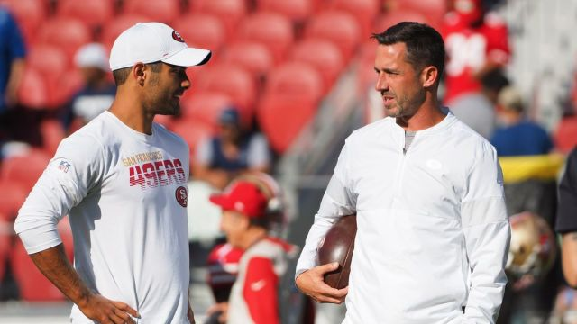 San Francisco 49ers coach Kyle Shanahan, quarterback Jimmy Garoppolo