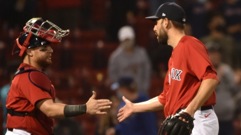 Boston Red Sox closer Matt Barnes, catcher Christian Vazquez