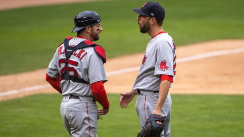 Boston Red Sox pitcher Matt Barnes, catcher Kevin Plawecki