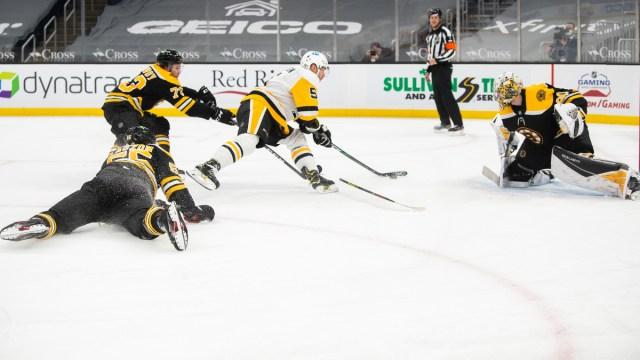 Boston Bruins Defenseman Charlie McAvoy, Goalie Dan Vladar And Pittsburgh Penguins Defenseman Mike Matheson