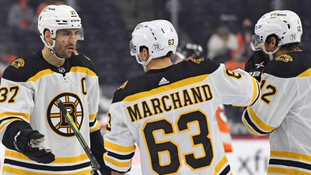 Boston Bruins Forwards Patrice Bergeorn, Craig Smith & Brad Marchand