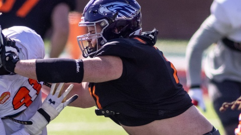 Wisconsin-Whitewater and potential Patriots offensive lineman Quinn Meinerz