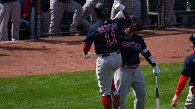 Boston Red Sox third baseman Rafael Devers, catcher Christian Vazquez