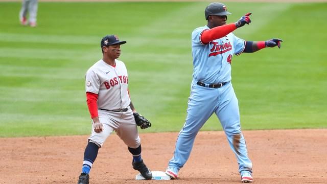 Minnesota Twins first baseman Miguel Sano and Boston Red Sox third baseman Rafael Devers