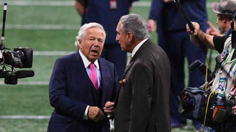 New England Patriots owner Robert Kraft, Atlanta Falcons owner Arthur Blank