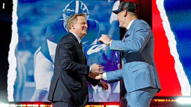 NFL commissioner Roger Goodell and New England Patriots quarterback Mac Jones