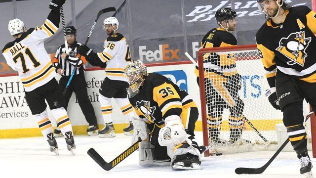 Bruins forwards Taylor Hall, David Krejci