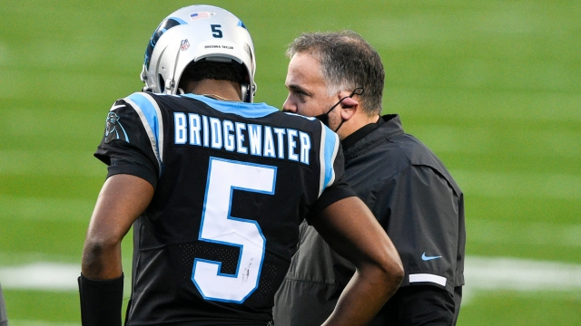 Carolina Panthers quarterback Teddy Bridgewater, head coach Matt Rhule