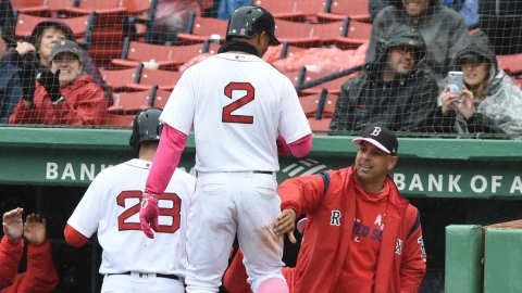 Boston Red Sox manager Alex Cora (right) and shortstop Xander Bogaerts (2)