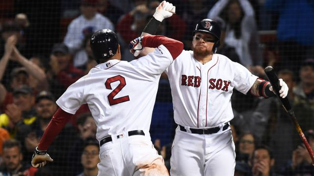 Boston Red Sox shortstop Xander Bogaerts and catcher Christian Vazquez