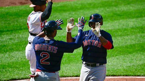 Boston Red Sox shortstop Xander Bogaerts and third baseman Rafael Devers