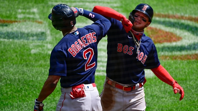 Boston Red Sox Shortstop Xander Bogaerts And Outfielder Alex Verdugo