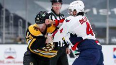 Boston Bruins winger Chris Wagner and Washington Capitals defenseman Brenden Dillon