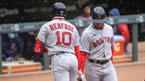 Boston Red Sox right fielder Hunter Renfroe, second baseman Christian Arroyo