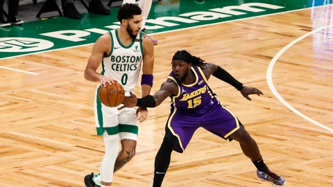 Boston Celtics forward Jayson Tatum, Los Angeles Lakers center Montrezl Harrell
